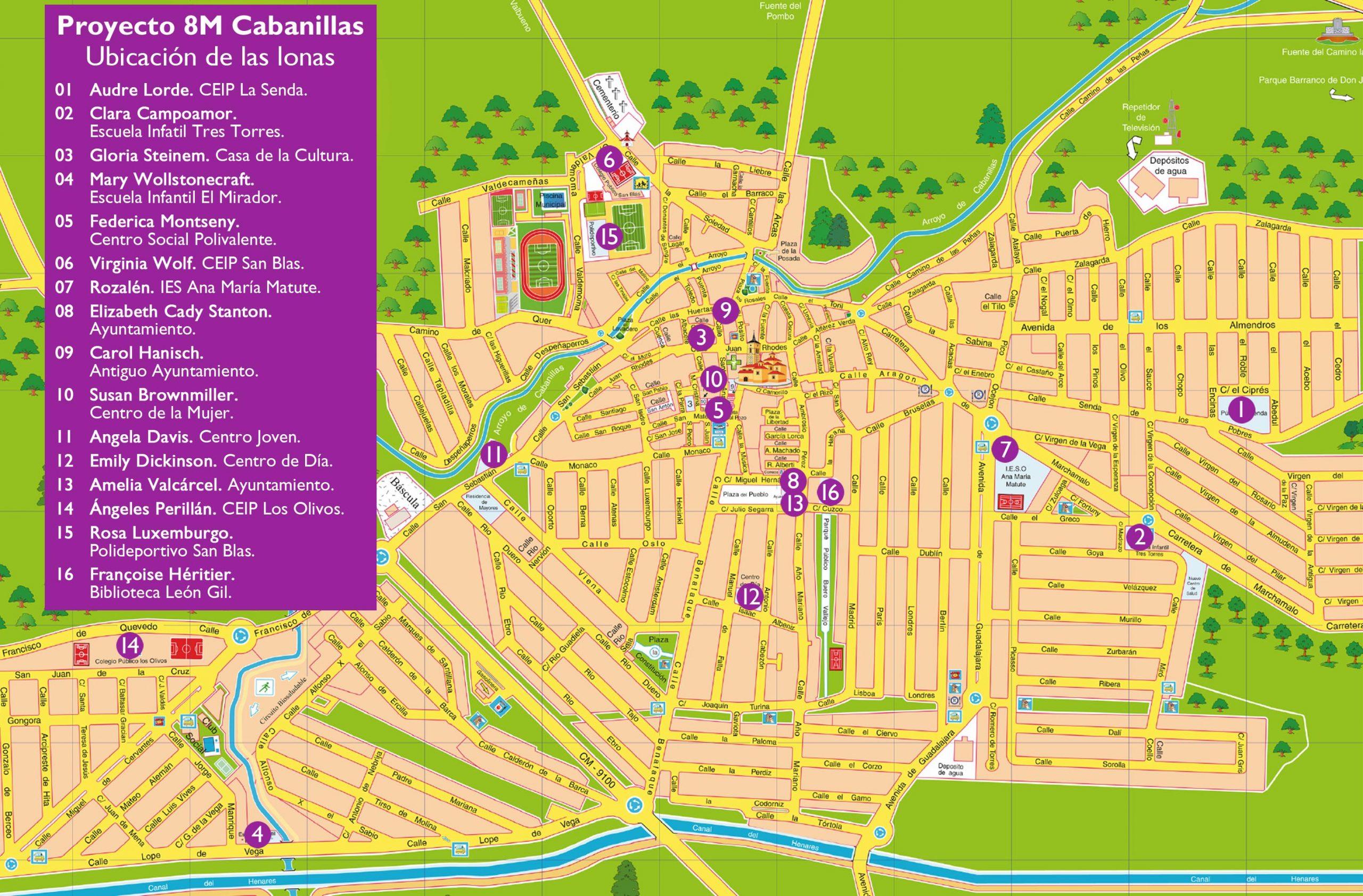 Plano de ubicación de las lonas